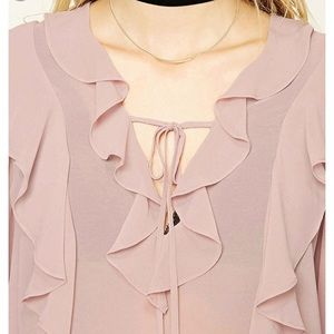 Forever 21 long bell sleeve pink blouse